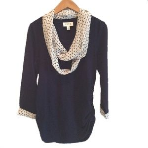 Elle Navy Sweater with Polka Dot Cuffs & Scarf